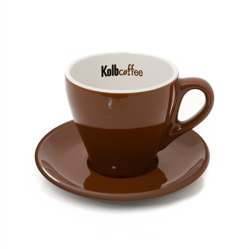 Latte ceramic cup & saucer 6oz brown