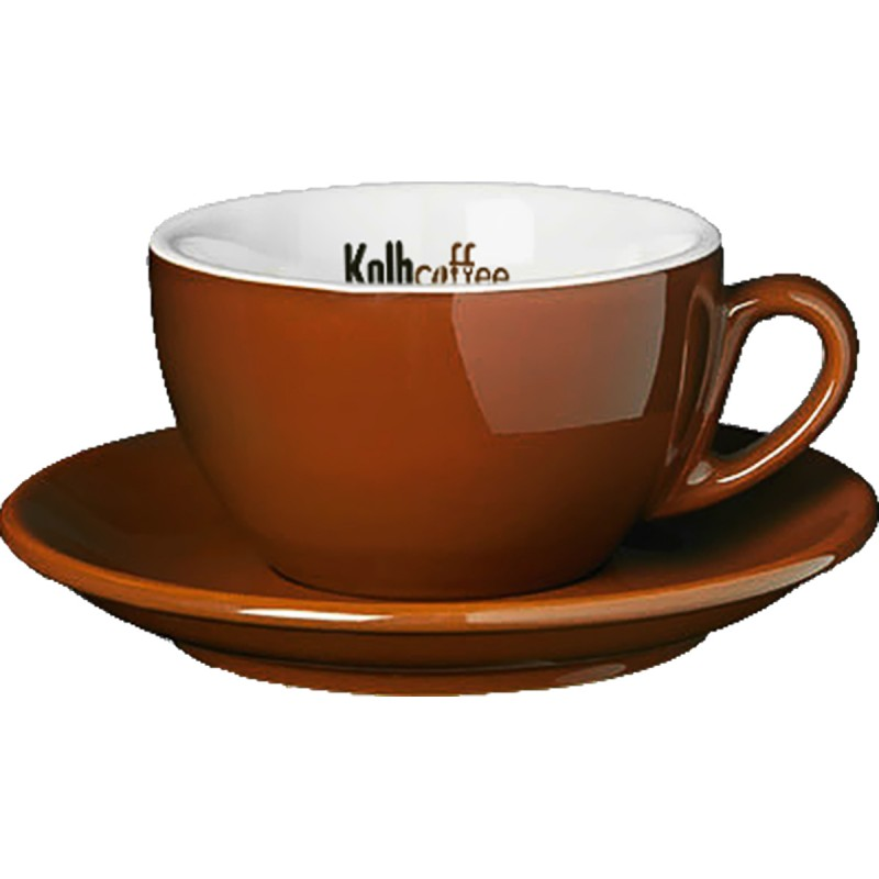 Regular ceramic cup & saucer 7oz brown